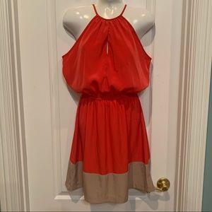 Jodi kristopher High Neckline Summer Dress Coral S